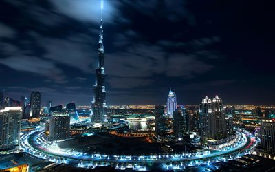 Dubai, Burj Khalifa, skyscrapers, modern architecture, night, metropolis, UAE