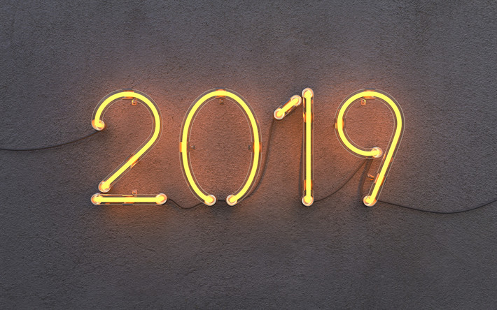 Download wallpapers 2019 year, neon lamps, light, 2019 concepts