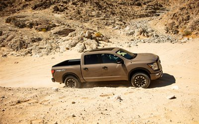 Nissan Titan, 2020, exterior, side view, Titan Pro-4X, brown pickup truck, new brown Titan, car in the desert, japanese cars, Nissan
