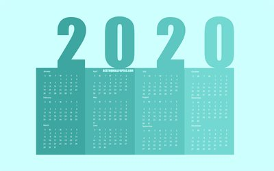 Turquoise 2020 Paper Calendar, all months, turquoise background, 2020 New Year Calendar, 2020 bookmarks calendar, 2020 Calendar