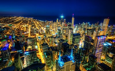 4k, Chicago, nightscapes, modern buildings, american cities, Illinois, America, Chicago at night, USA, City of Chicago, Cities of Illinois