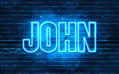 John, 4k, wallpapers with names, horizontal text, John name, blue neon lights, picture with John name