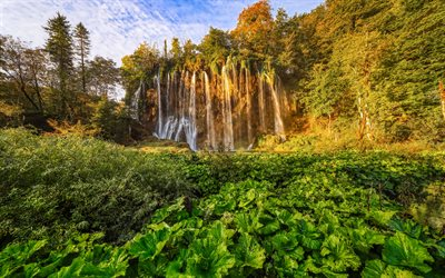 waterfall, evening, sunset, autumn, beautiful waterfall, Plitvice Lakes National Park, Croatia