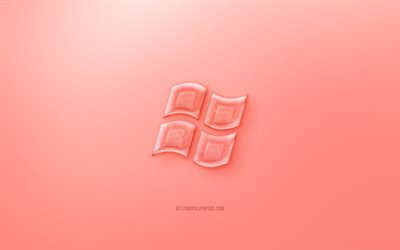 Windows 3D logo, Red background, Red Windows jelly logo, Windows emblem, creative 3D art, Windows