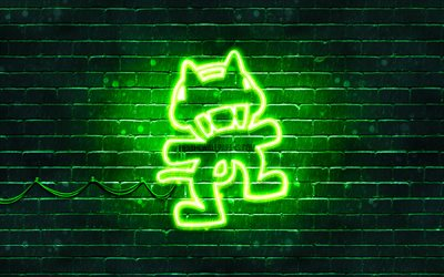 Monstercat green logo, 4k, superstars, green brickwall, Monstercat logo, artwork, music stars, Monstercat neon logo, Monstercat