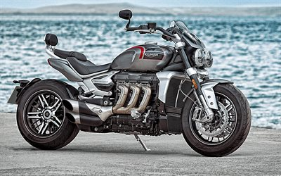 Triumph Rocket III, 2020, side view, new gray Rocket III, british motorcycles, Triumph