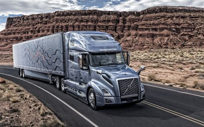 Volvo VNL, gray truck, transportation concepts, swedish trucks, new gray VNL, Volvo Trucks, freight transportation, USA