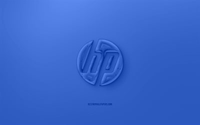 HP 3D logo, Blue background, Blue HP jelly logo, HP emblem, creative 3D art, HP, Hewlett-Packard
