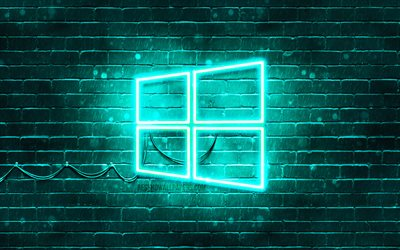 Windows 10 turkos logo, 4k, turkos brickwall, Windows 10 logotyp, varumärken, Windows 10 neon logotyp, Windows-10