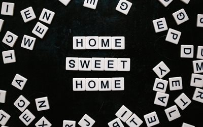 Home Sweet Home, lettering, Quotes about home, inspiration, cubes with letters
