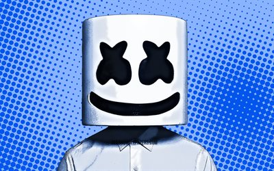4k, Marshmello, blue comic background, superstars, Christopher Comstock, fan art, Cartoon Marshmello, DJ Marshmello, DJs