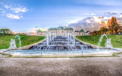 Belvedere, Vienna, fountain, evening, sunset, beautiful palace, autumn, Vienna landmark, Austria, Baroque palace