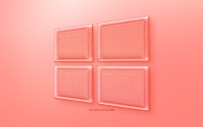 Windows 10 3D logo, Red Windows 10 emblem, Red background, Red Windows 10 jelly logo, creative 3D art, Windows