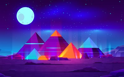 egyptian pyramids, 4k, creative, 3D abstract landscapes, abstract nightscape, 3D mountains, artwork, 3D art, pyramids, moon, desert