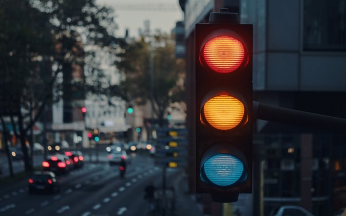 traffic light, city traffic concepts, red yellow green light, road regulation