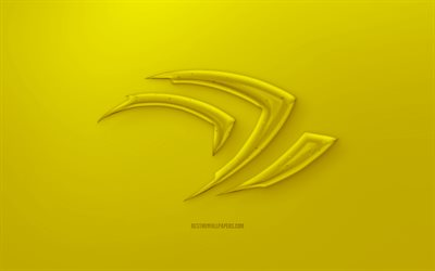 Nvidia Claw 3D logo, Yellow background, Yellow Nvidia Claw jelly logo, Nvidia Claw emblem, creative 3D art, Nvidia