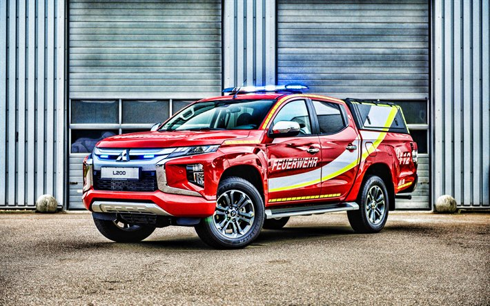 Download Wallpapers 4k Mitsubishi L200 Fire Truck Red