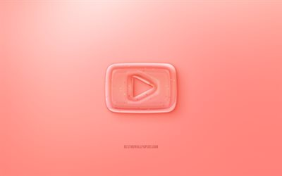 YouTube 3D logo, Red background, Red YouTube jelly logo, YouTube emblem, creative 3D art, YouTube