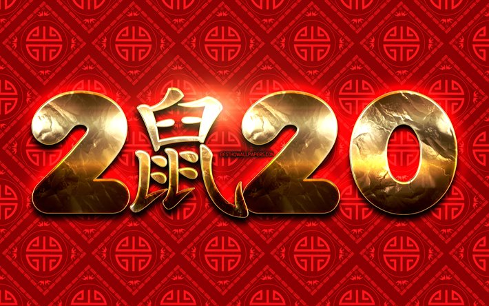 Download wallpapers 2020 golden digits, 4k, rat zodiac sign