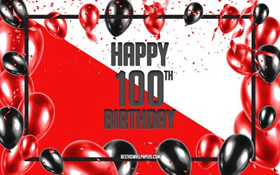 Happy 100th Birthday, Birthday Balloons Background, Happy 100 Years Birthday, Red Birthday Background, 100th Happy Birthday, Red black balloons, 100 Years Birthday, Colorful Birthday Pattern, Happy Birthday Background