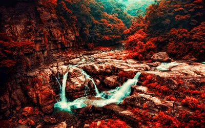 Taiwan, beautiful nature, autumn, HDR, forest, waterfall, blue river, rocks, taiwanese nature, Asia