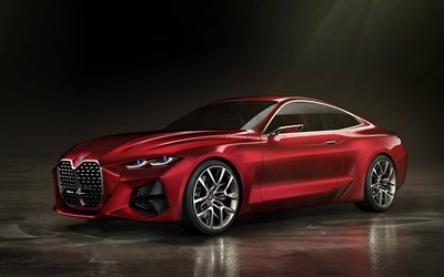 BMW Concept 4, 2019, 4K, exterior, front view, red coupe, concepts, German cars, BMW