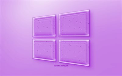 Windows 10 3D logo, Purple background, Purple Windows 10 jelly logo, Windows 10 emblem, creative 3D art, Windows