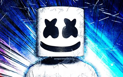 DJ Marshmello, blue grunge rays, american DJ, superstars, Christopher Comstock, fan art, music stars, Marshmello, grunge art, DJs