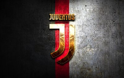 Juventus FC, golden logo, Juve, black and white background, Serie A, football, Juventus, italian football club, Juventus logo, soccer, Italy, Bianconeri