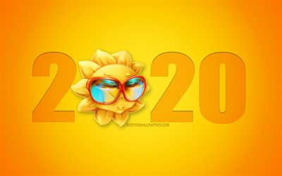 2020 Travel Background, 2020 Funny Background, sun, 2020 summer, creative 2020 art, 2020 concepts, Happy New Year 2020, Yellow 2020 background