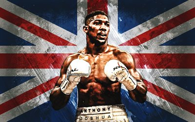 Anthony Joshua, british boxer, world champion, IBF, WBA, WBO, IBO, portrait, British flag