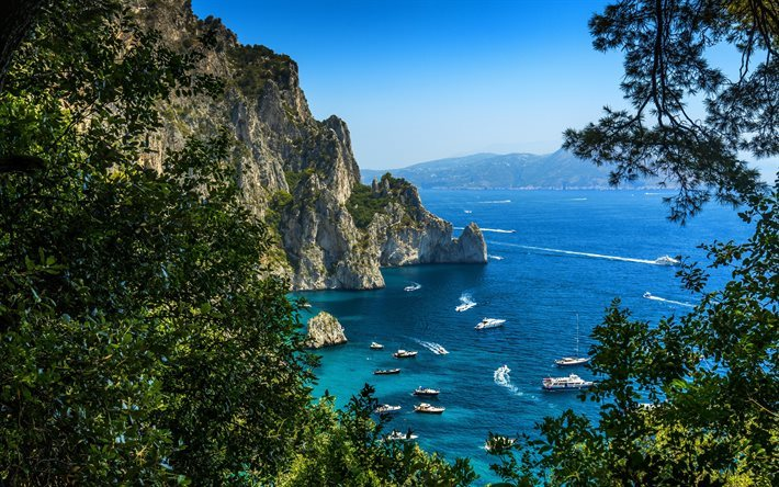 Scarica Sfondi Capri Costa Mediterranee Italia Yachts Barche