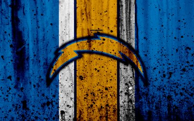 Download Wallpapers Los Angeles Chargers 4k Nfl Grunge Stone Texture Logo Emblem Los