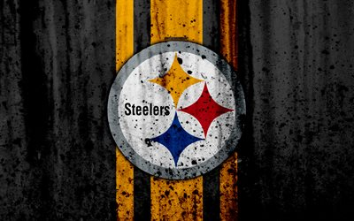 4k, Pittsburgh Steelers, grunge, NFL, american football, NFC, USA, art, stone texture, logo, North Division