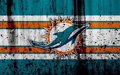 Miami Dolphins, 4k, NFL, grunge, stone texture, logo, emblem, Miami, Florida, USA, American football, East Division, American Football Conference, National Football League