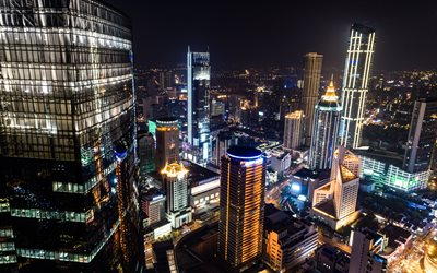 Shanghai, skyscrapers, cityscape, night, city lights, China