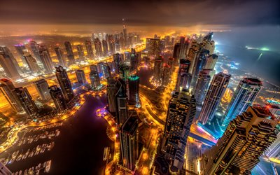 Dubai, 4k, fog, nightscapes, modern buildings, skyscrapers, UAE