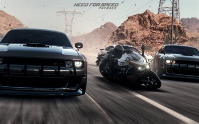 Need for Speed Payback, 2017, car simulator, dodge challenger, race