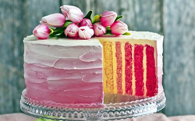 cake, colorful cakes, cream, Birthday, tulips, sweets, baked goods