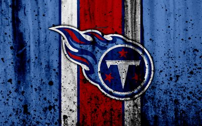Tennessee Titans, 4k, NFL, grunge, stone texture, logo, emblem, Nashville, Tennessee, USA, American football, Southern Division, American Football Conference, National Football League