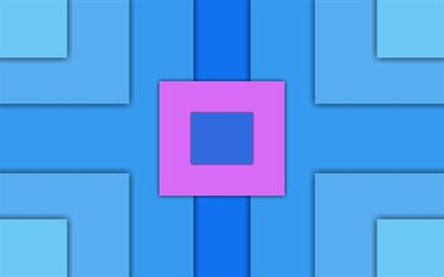 squares, 4k, lines, material design, rectangles, geometric shapes, art, blue background