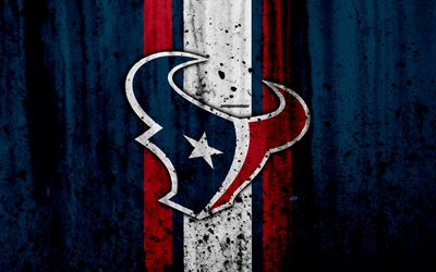 Houston Texans, 4k, NFL, grunge, stone texture, logo, emblem, Houston, Texas, USA, American football, Southern Division, American Football Conference, National Football League