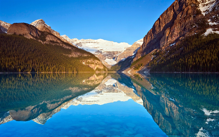 Download wallpapers Lake Louise, blue