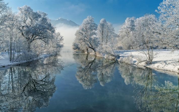 Scarica sfondi inverno neve fiume paesaggio montagne for Sfondi desktop inverno montagna