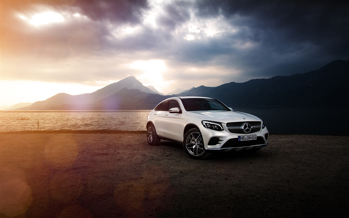Download wallpapers Mercedes-Benz GLC Coupe, 4k, 2017 cars, coast, new GLC, Mercedes for desktop ...