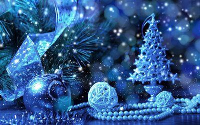 Download wallpapers blue christmas tree