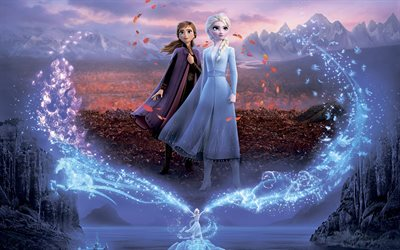 Anna and Elsa, Frozen 2, 4k, poster, 2019 movie, Frozen Two, Disney, Frozen II