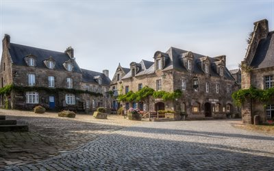 Locronan, old houses, morning, gray stone houses, France