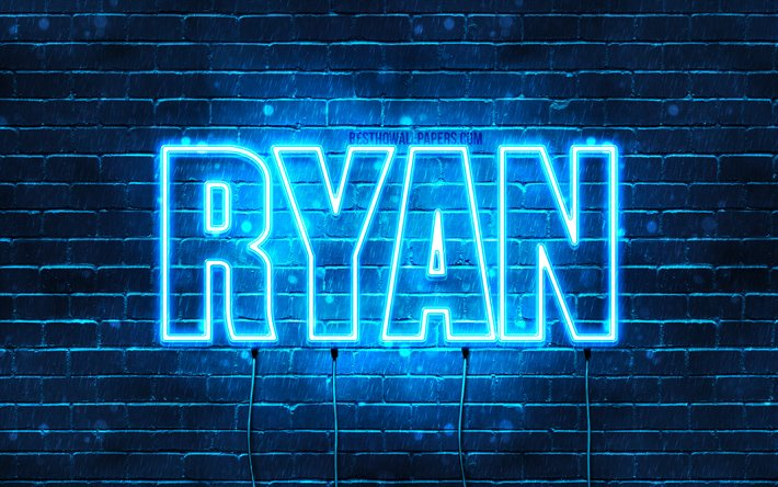 Ryan, 4k, wallpapers with names, horizontal text, Ryan name, blue neon lights, picture with Ryan name