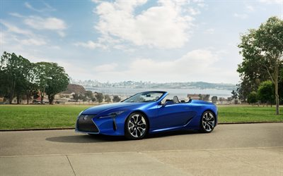 Lexus LC 500 Convertible, 2021, front view, exterior, luxury convertible, blue convertible, new blue LC 500, japanese cars, Lexus